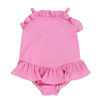 Pink Check Seersucker-One Piece Swimsuit