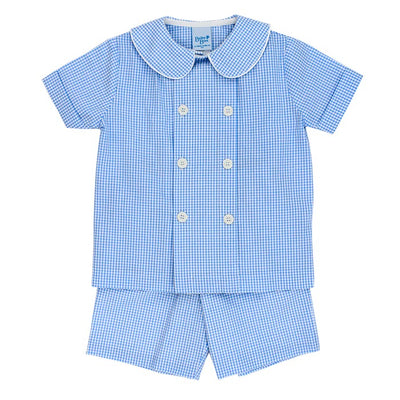 Blue Check Seersucker-Dressy Short Set