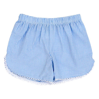 Blue Check Seersucker-Girls Short