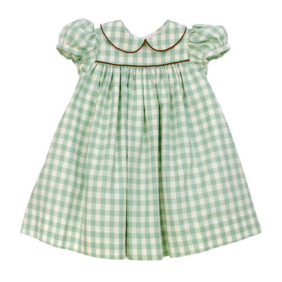 Sage Check-Float Dress