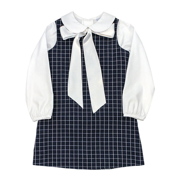 Navy Windowpane-Liza Dress