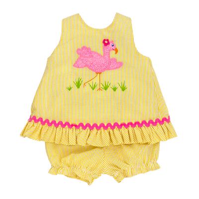 Flamingo Flo- Angel Dress Tie W/ Bloomer