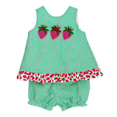 Strawberry- Angel Dress Tie Back with Bloomer Set