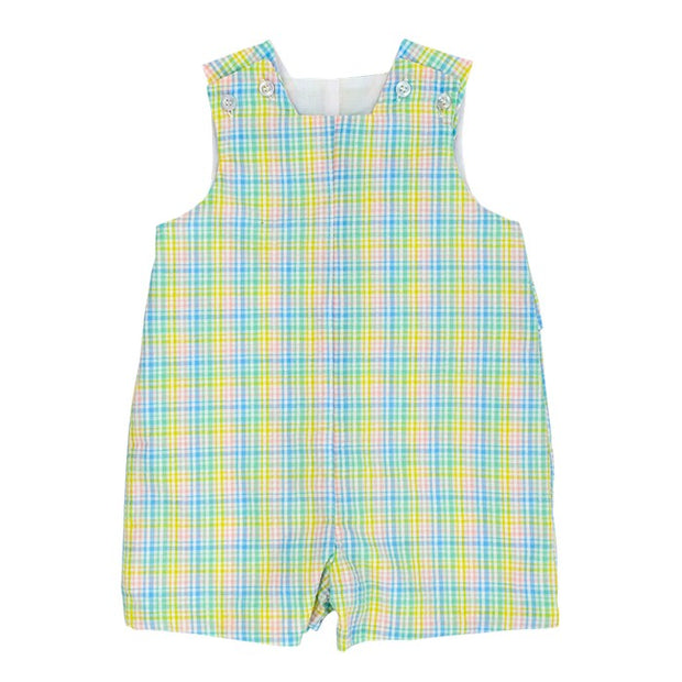 Preppy Plaid Seersucker-John John with Tabs