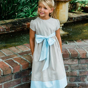 Oyster Linen-Empire Dress