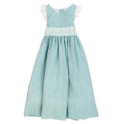 Seafoam Linen-Empire Dress
