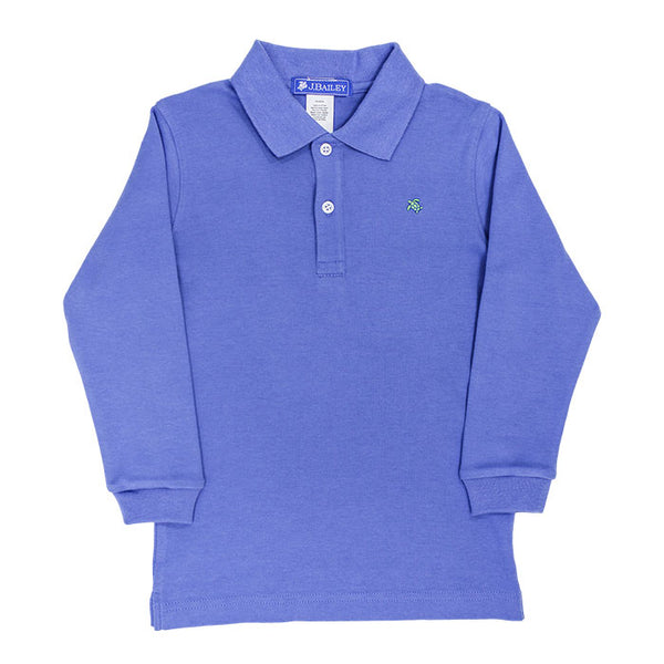 The J Bailey Harry - Soft Knit Long Sleeve Polo in Chambray