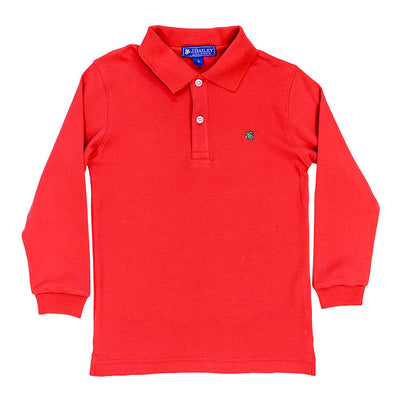 Harry Long Sleeve Polo-Coral