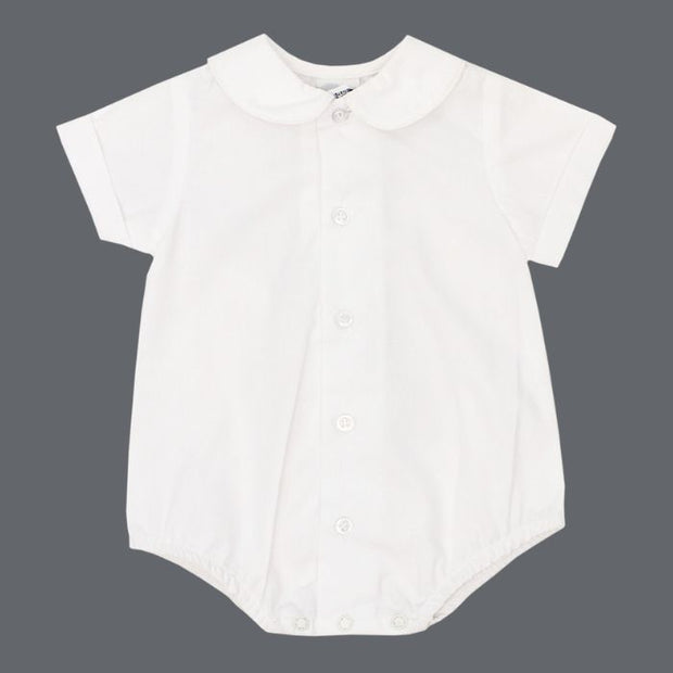 Boys Short Sleeve Piped Button Front Onesie-White