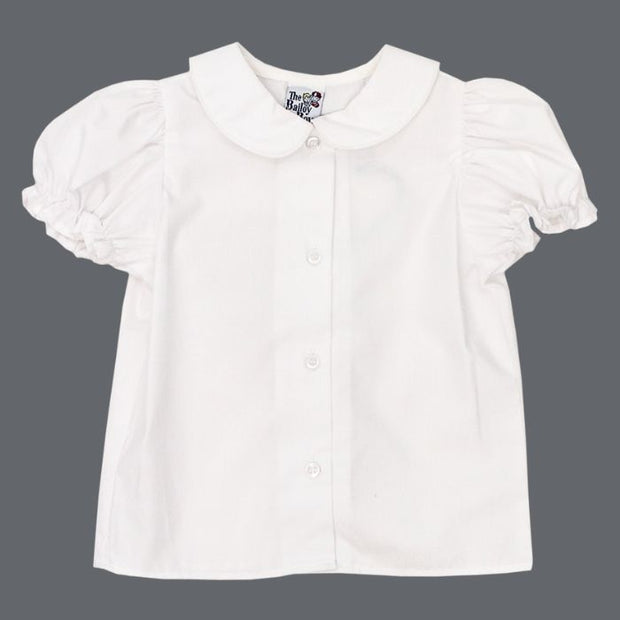 Girls Short Sleeve Piped Button Front Shirt-White