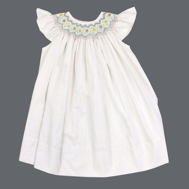 Smocked Pastel Flowers on White-Bishop Dress
