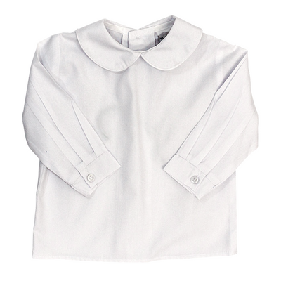 Boys Long Sleeve Button Back Shirt-White