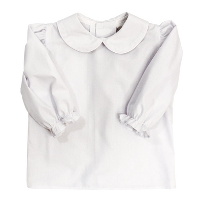 Girls Long Sleeve Button Back Shirt-White