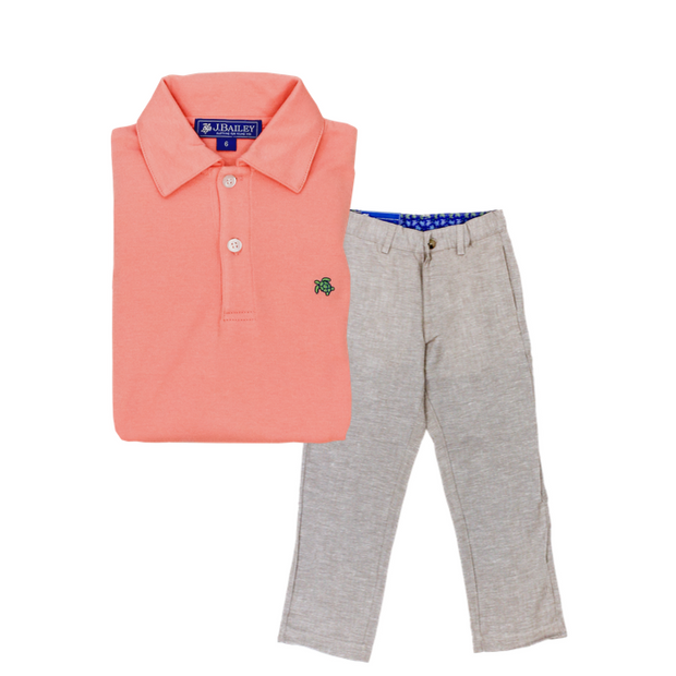 Henry Short Sleeve Polo-Coral Reef
