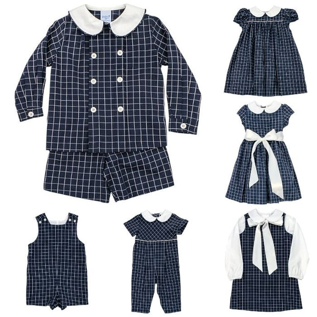 Navy Windowpane-Dressy Short Set