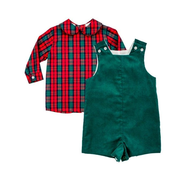 December Plaid-Boys Piped Shirt