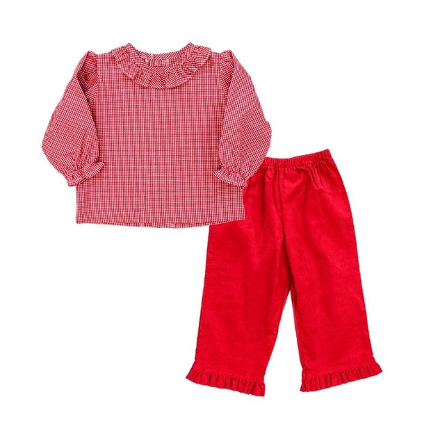Red Corduroy-Girls Elastic Waist Pant with Ruffle