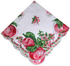Vintage-Inspired Hanky - Apples w Apple Blossoms - Hampton Court Essential Luxuries