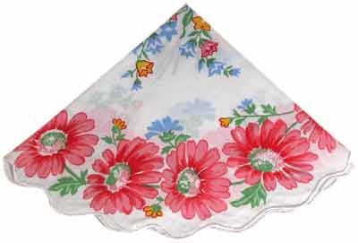 Vintage-Inspired Hanky - Large Pink Gerber Daisys w Wildflowers