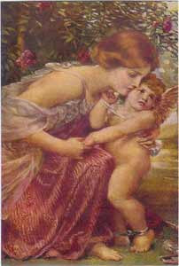 Postcard - Woman and Cherub