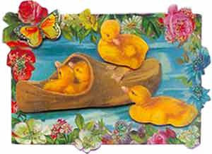 Easter Greeting Card - Dutch Shoe & Ducklings 3D Enclosure Card