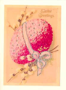 Easter Greeting Card - Easter Greeting Glitter Egg with Pussy Willows