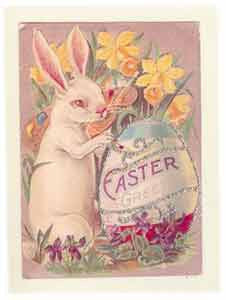 Easter Greeting Card - Easter Greeting Glitter Egg with Bunny