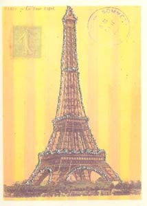 All Occasion Greeting Card - Eiffel Tower Stripes Glitter Card