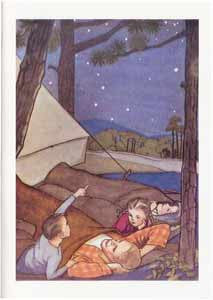 All Occasion Greeting Card - Father and Children Camping