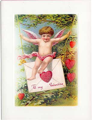 Valentine's Day Greeting Card - Swinging Cherub Sparkle Card