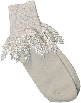 Catherine Cole Studio Lace Cuff Sock - Ivory