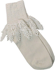 Catherine Cole Studio Lace Cuff Sock - Ivory - Hampton Court Essential Luxuries
