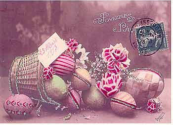 Easter Greeting Card - Paper Eggs Easter Basket Glitter Card