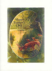 Father's Day Greeting Card - Happy Father's Day Card - Wooded Scene with Deer - Hampton Court Essential Luxuries