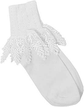 Catherine Cole Studio Lace Cuff Sock - White w Ivory Lace