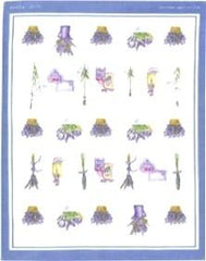 European Tea Towel - Lavender Bath w Blue Border