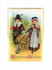 Thanksgiving Greeting Card - Pilgrims Sparkle Card - Hampton Court Essential Luxuries