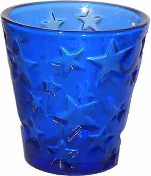Candle Accessory - Cobalt Blue Votive Holder with Stars