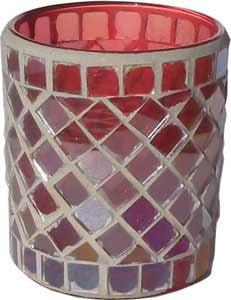 Candle Accessory - Luster Red Stained Glass Votive Holder