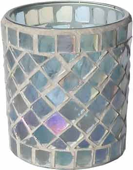 Candle Accessory - Luster Blue Stained Glass Votive Holder