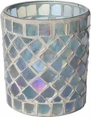 Candle Accessory - Luster Blue Stained Glass Votive Holder - Hampton Court Essential Luxuries