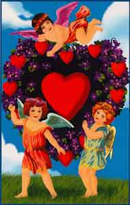 Valentine's Day Greeting Card - Cherubs & Hearts