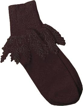 Catherine Cole Studio Lace Cuff Sock - Mocha Brown