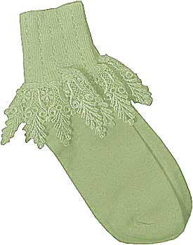 Catherine Cole Studio Lace Cuff Sock - Celery