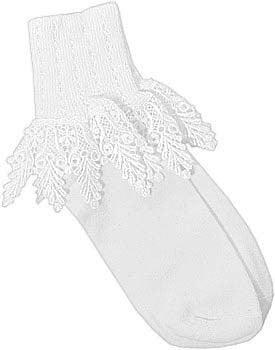 Catherine Cole Studio Lace Cuff Sock - White
