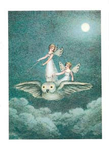 Birthday Greeting Card - Fairies Flying on Owl