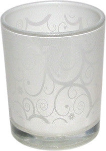 Candle Accessory - Frosted Glass w Lace Design Votive Holder