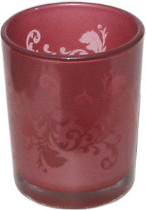 Candle Accessory - Glass Ornate Red Votive Holder