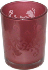 Candle Accessory - Glass Ornate Red Votive Holder - Hampton Court Essential Luxuries