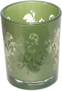 Candle Accessory - Glass Ornate Green Votive Holder